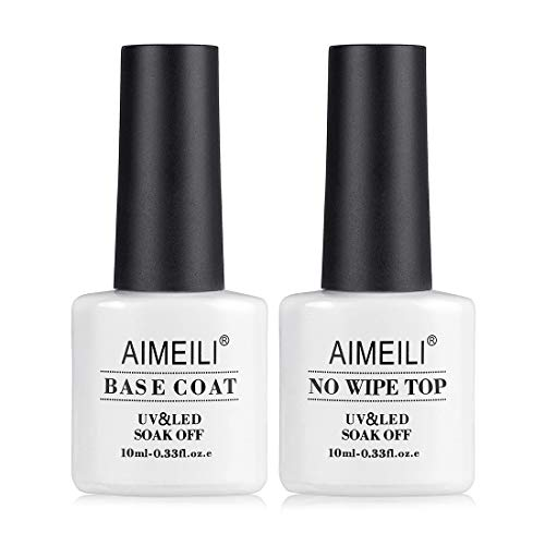 AIMEILI Base y Top Coat Semipermanente Esmalte Semipermanente de Uñas UV LED Gel Soak Off 10ML